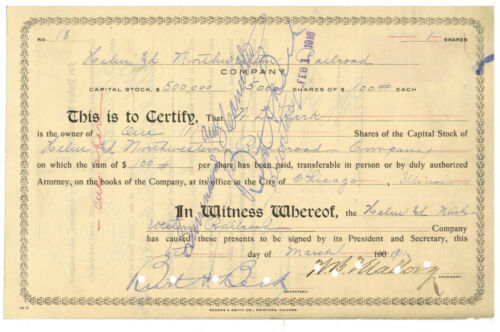 Helm and Northwestern Railroad Company. Stock Certificate. 1911