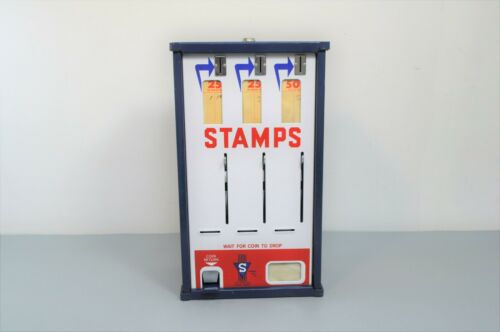 Vintage Shipman MFG Co Postage Stamp Vending Slot Machine 3 Lever Coin Operated