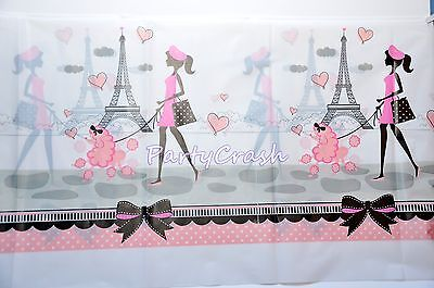 Party In Paris Table Cover Cloth Pink Poodle Eiffel Tower Chic Baby Shower Decor - Paris Baby Shower Decorations