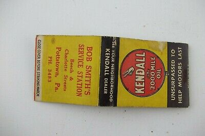 Vintage 1950s Kendall Oil Bob Smith's Service Pottstown PA Complete Matchbook