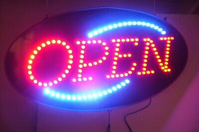 Led Open Sign In Red Blue With Tracer Motion Pull Chain Switch