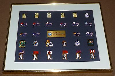 1990 Goodwill Games Collector Pin Set  28  Seattle  Wa Framed Flags Mascot