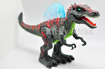 Walking Dinosaur Spinosaurus Light Up Kids Toy Figure Sounds Real Movement LED