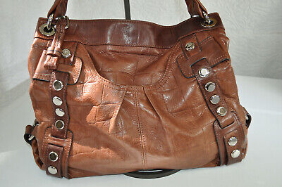 B Makowsky Brown Leather Hobo Studded Large Croc Embossed Boho Shoulder Purse