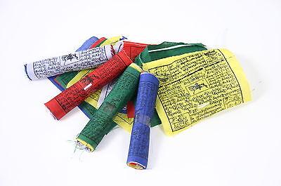 5 ROLLEN JE 10 TIBETISCHE GEBETSFAHNEN 11cm x 11cm Länge 1,2m NEPAL PRAYER FLAGS