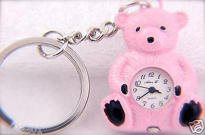 CUTE BEAR KEYCHAIN PINK TONE KEY RING QUARTZ WATCH BY ALEX, L