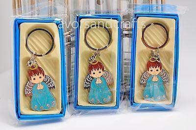 12 Baptism Keychain Favors Communion Christening Bautizo Llaveros Angel Boy - Keychain Favors