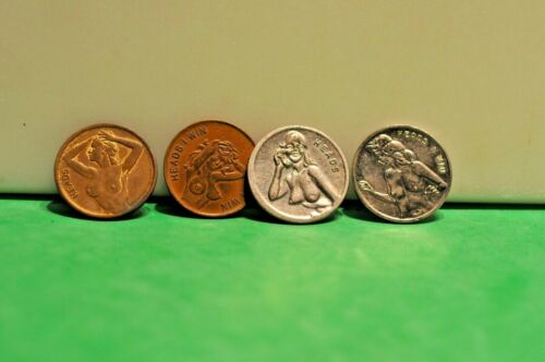 (4) Erotic Heads Tails Tokens