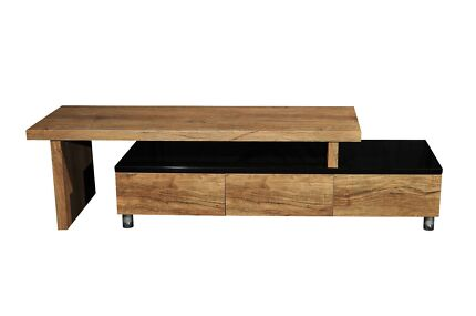 CHARLENE EXTENDABLE LOWLINE TV UNIT-HIGH GLOSS BLACK& ANTIQUE OAK