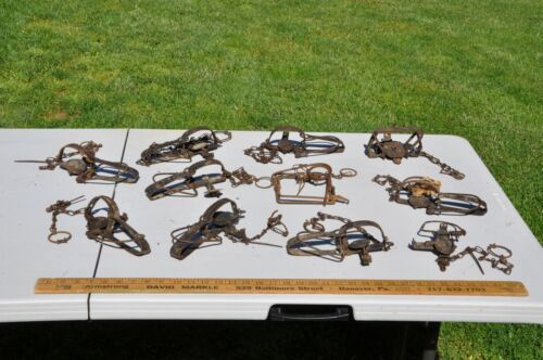 Lot of 11 Antique / Vintage Rustic Animal  Traps  Hunting Cabin Lodge Decor
