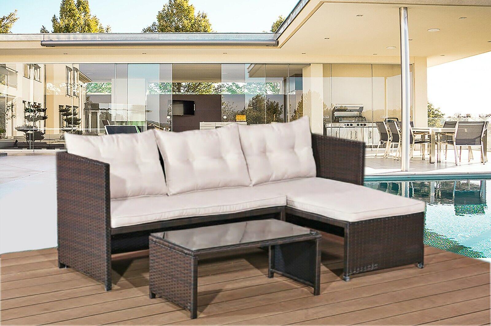Garden Furniture - Rattan Corner Set Patio Garden Furniture Sofas Conservatory Outdoor Dining Table