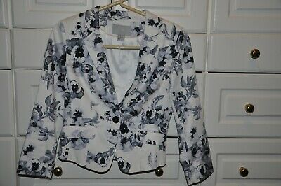 H & M  Blue & White Floral Stretch Cotton Lined Blazer Jacket  Size 4  EUC