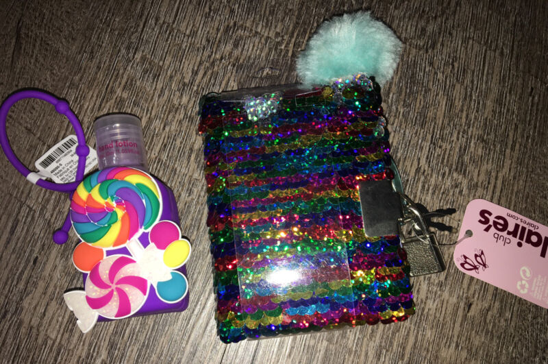 Claire's Mini Sequin Diary Lock Key Candy Lotion Keychain Backpack Clip Lot