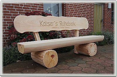 Gartenbank mit Gravur (Name   Ruhebank.).Gartenbank aus Holz.Hochzeitsgeschenk.