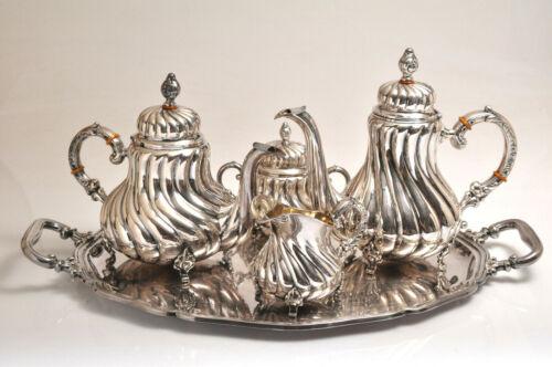 BEAUTIFUL Antique Sterling Silver German Handarbeit Handmade Teaset w/ 830 Tray