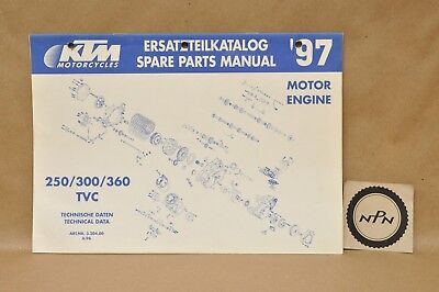 1997 KTM 125 VC Motor Engine Technical Data Spare Parts List Diagram Manual