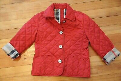 Authentic Burberry Kids Quilted Red Jacket Plaid Lining! Size 4T