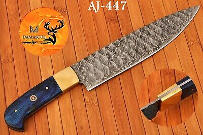 """12"""" HAND FORGED DAMASCUS STEEL ENGRAVE BLADE CHEF KNIFE WITH WOOD HANDLE- AJ 447"""