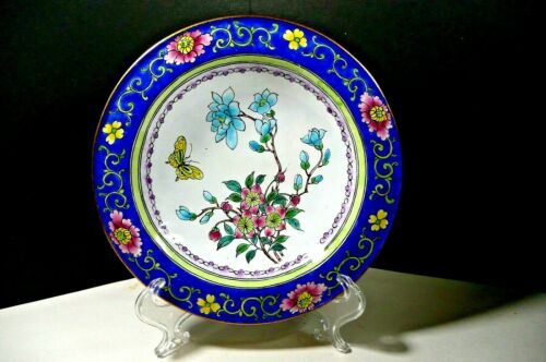 Antique Cloisonné Bronze Footed Bowl Yellow Butterfly Pink Blue Flowers HP