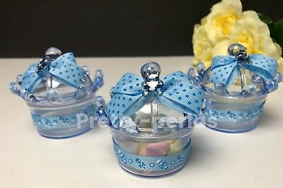 12PC Fillable Baby Shower Favors Crown Blue Prince Table Decoration Boy Giveaway