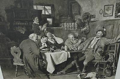 """~1900 Eduard Grützner 1873 """"Jägerlatein"""" 90 x 77 (132 x117) Büttenpapier"""