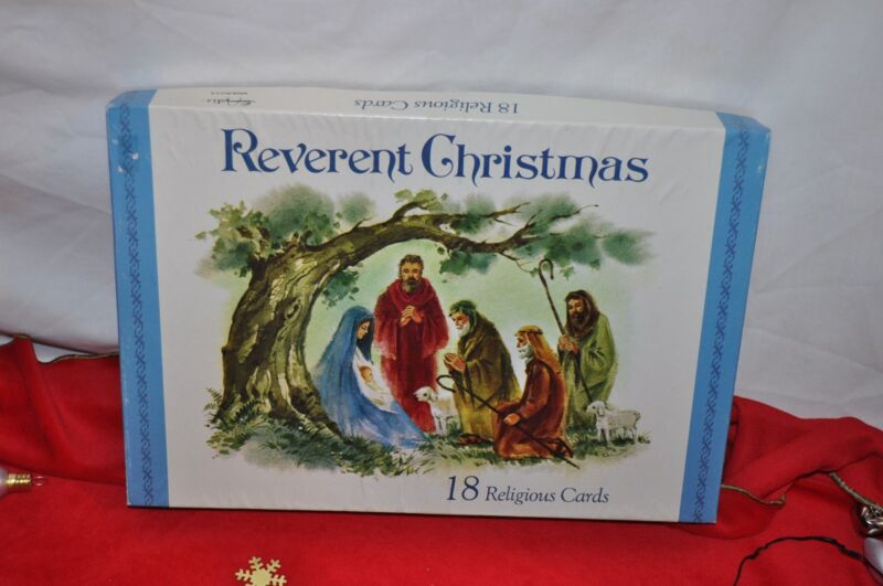 32 vintage ARTIS + REVERENT Religious CHRISTMAS CARDS  UNUSED  in box USA MADE