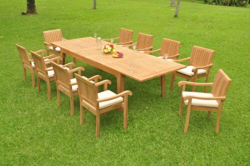 "11-pc Outdoor Teak Dining Set: 122"" Rectangle Table 10 Stacking Arm Chairs Napa"