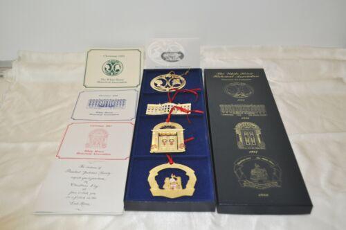 White House Historical Association Ornament Set 1985 1986 1987 1988 w/pamphlets