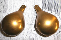 Vintage Pair of Brass Pear Shaped Weights for a Dutch Zaanse Wall Clock Parts