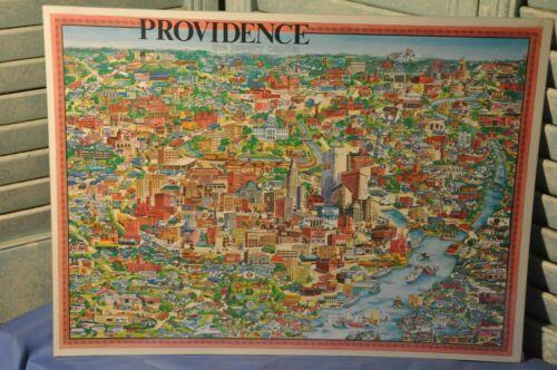 Vintage 1978 Providence RI City Character Print Drawing Map Poster Unique