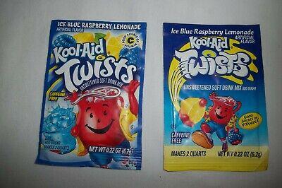 Vintage KOOL-AID Package Pouch Unopened Twists Ice Blue Raspberry (Kool Aid Twists Ice Blue Raspberry Lemonade)