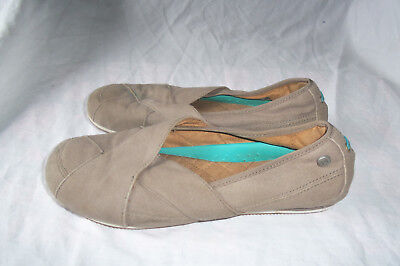 (WOMENS MOZO SPORT BROWN CANVAS SANDAL CASUAL BALLET FLAT SHOE SIZE 7.5)