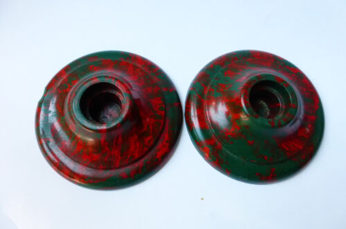PR Vintage 1930s Christmas Candle Holders Red & Green Swirl Bakelite Compo-Site