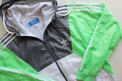Vintage Adidas Originals windbreaker hooded shell jacket | L | Grey white green