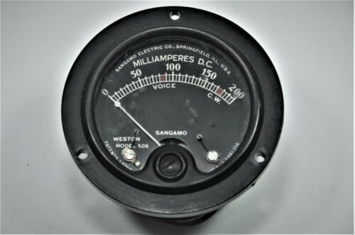 "Vintage Weston Model 506 Black Face Milliamperes Panel Meter DC 0-200 mA  2.625"""
