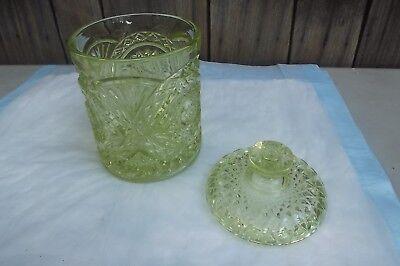 1890's VASELINE PATTERN GLASS [GEOMETRIC DIAMOND] HUMIDOR w/ LID
