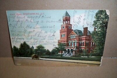 Pc Spartanburg Sc 14307 Court House Posted 1C Stamp Postmarked Landrum Sc