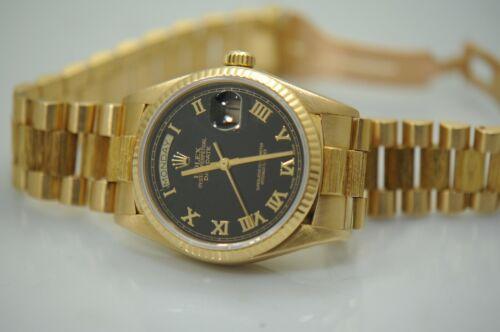 Rolex 18038 36mm Day-date President Roman Dial 18k Yellow Gold Bark Mens Watch