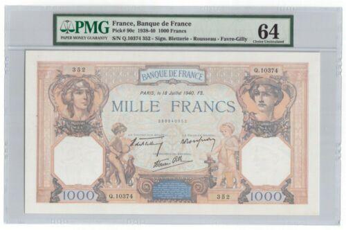 """France 1000 Francs 1940 Pick# 90c PMG Choice UNC 64 """"Large Size"""" """"Vintage"""""""