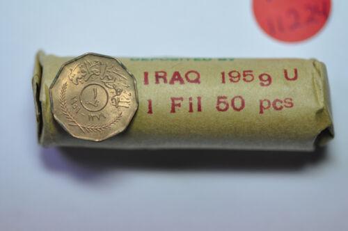 mw11224 Iraq; Fils AH1379 - 1959  50 Coins Original Mint Roll  KM#119   BU