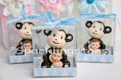 12 Baby Shower Party Decoration Favors Monkey Animal Safari Boy - Blue Safari Baby Shower Decorations