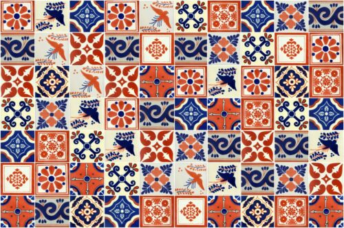 "100 4x4""  Pieces Mexican Talavera Tiles Handmade Terracotta & Blue Mixed Designs"