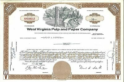 West Virginia Pulp and Paper Company > 1964 old stock certificate share