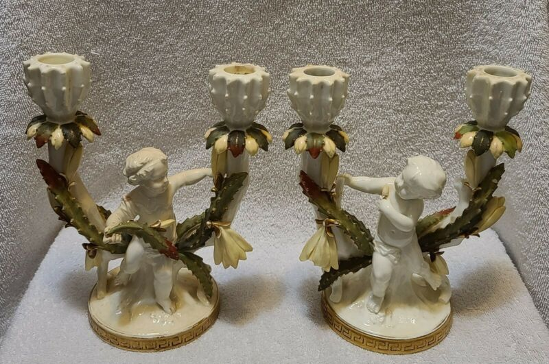 PAIR OF ANTIQUE MOORE BROTHERS PORCELAIN CHERUBS CANDLESTICK CANDLE HOLDERS