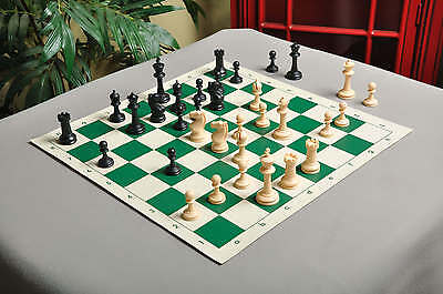 "USCF Sales Competition Plastic Chess Set - Pieces Only - 3.75"" Black & Natural"