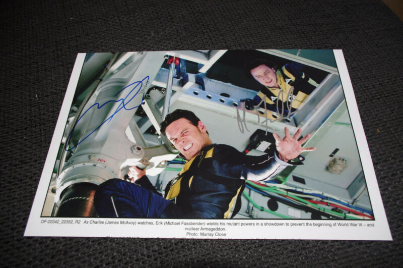 X-MEN signed autographed Photo James McAvoy & Michael Fassbender InPerson 2016