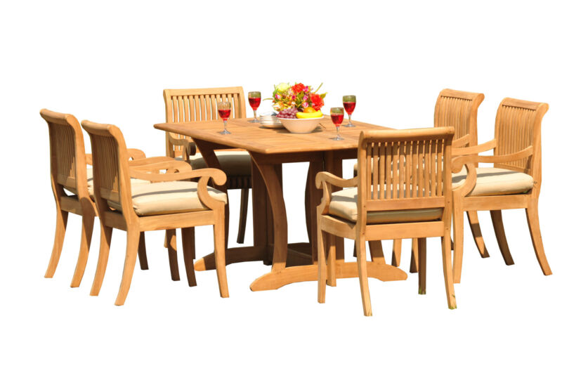 "7-piece Outdoor Teak Patio Dining Set: 69"" Console Table, 6 Arm Chairs Giva"