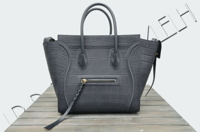 CELINE PARIS 3250$ New Medium Navy Blue Nubuck Crocodile Phantom Luggage Bag