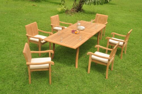 "7-piece Outdoor Teak Dining Set: 94"" Rectangle Table 6 Stacking Arm Chairs Napa"