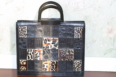 Lady real-leather briefcase crisp black leopard-print handbag with resin handle
